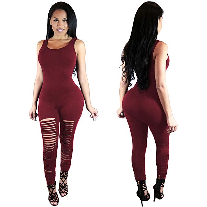mode nouveau femmes Sleeveless Jumpsuits Cotton Sexy Bodycon Long Rompers RD L à prix pas cher