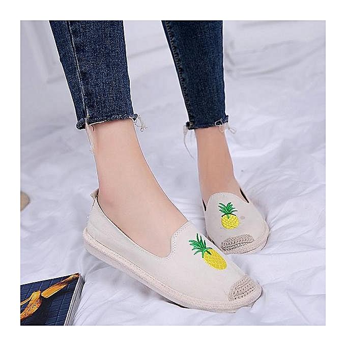 Fashion Fashion femmes chaussures Pattern Canvas Slip On Flats Loafers à prix pas cher    Jumia Maroc