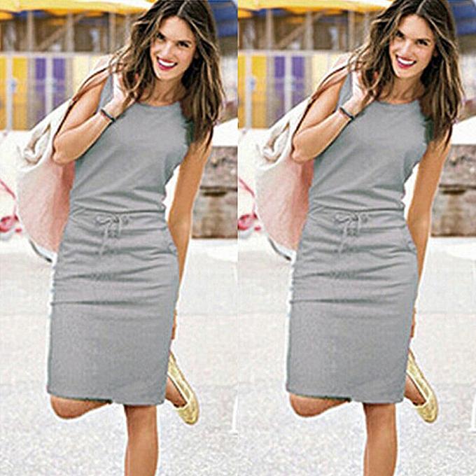 Fashion quanxinhshang femmes Holiday Sleeveless Sundress Ladies Summer Beach Casual Party Dress à prix pas cher