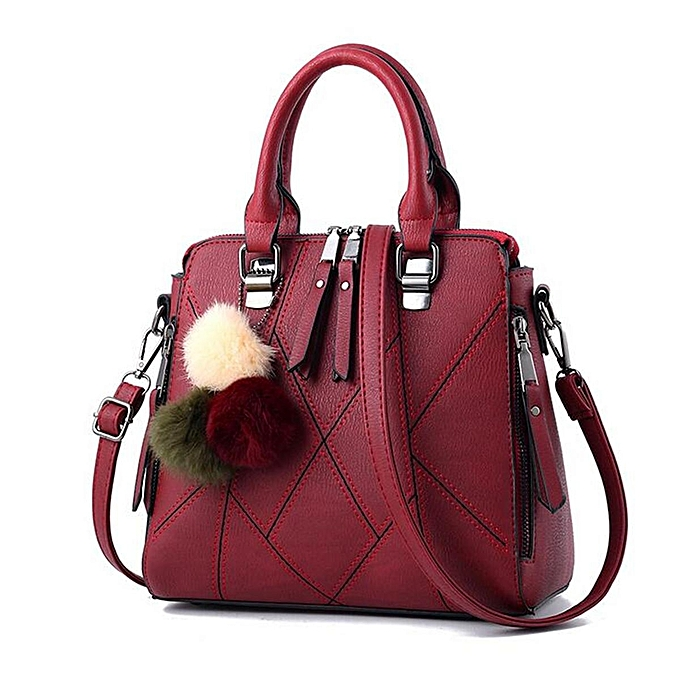 Fashion Fashion femmes Handbag Leather Ball Shoulder Messenger Bag Large Tote Lady Purse  Wine rouge à prix pas cher