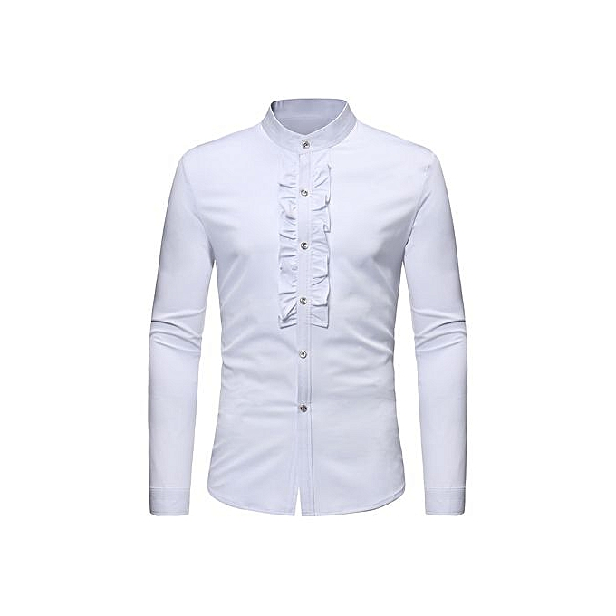 AFankara Mandarin Collar Ruffled Shirt - blanc à prix pas cher