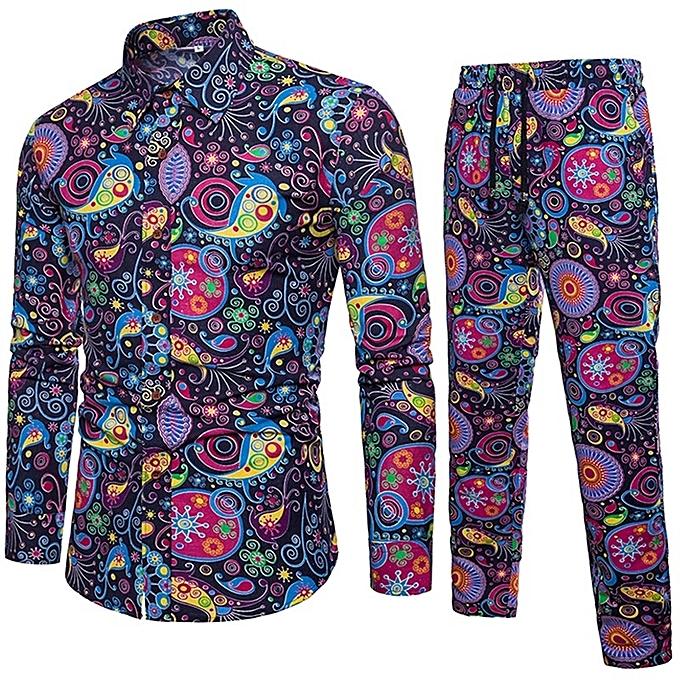 Other Circle Print  Men's Long Sleeve Shirt and Pants Suit à prix pas cher