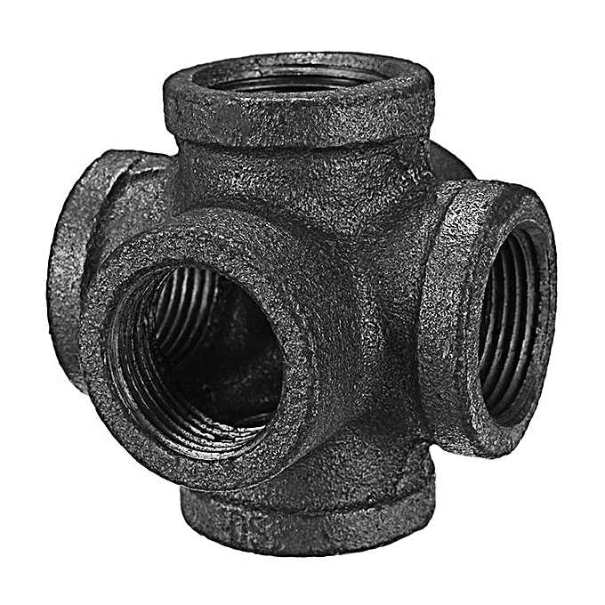 UNIVERSAL noir Malleable Iron 6 Way Pipe Connector Iron Pipe Fitting 1 2 Inch à prix pas cher
