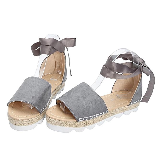 Fashion Fashion femmes Sandals Anke Strap Block Summer Espadrille Platform Casual chaussures-EU à prix pas cher