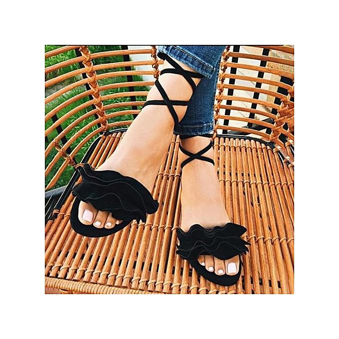 Fashion Xiuxingzi_femmes Solid Couleur Ruffles Round Toe Flat Heel Cross Tied Sandals Rome chaussures BK à prix pas cher    Jumia Maroc