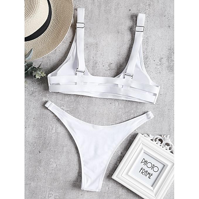 Generic HL Caged High Leg Bikini Set (blanc) (S, L, M) à prix pas cher
