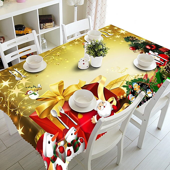 Generic Sedectres Merry Christmas Rectangular Printed Fabric Party Picnic Tablecloth 90150cm D-As Shown à prix pas cher