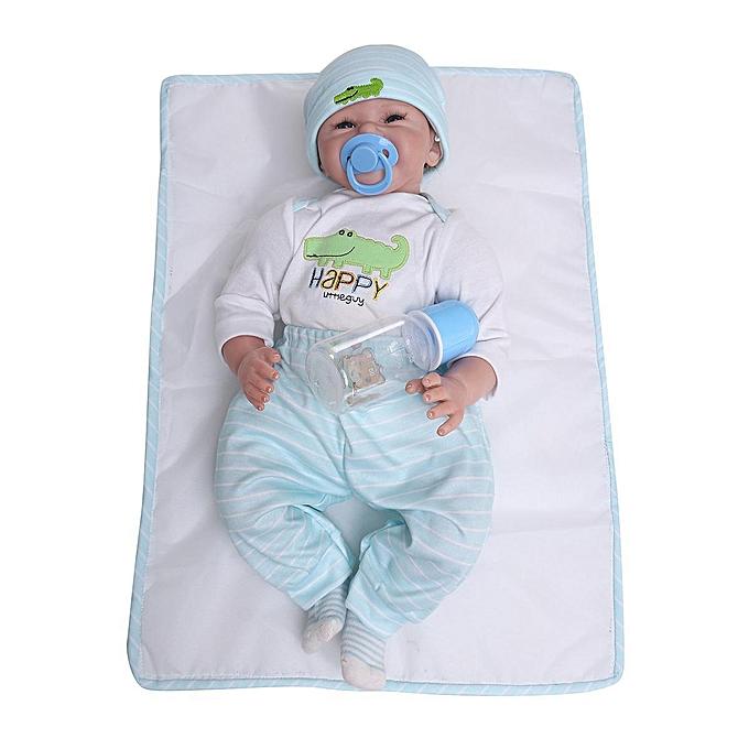 Autre 22 &   x27; &   x27; poupée nouveau-née renfermée à la main en vinyle siliconé pour bébé garçon + vêteHommests à prix pas cher