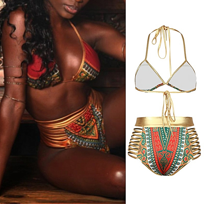 Autre New African Print Two-Pieces Bath Suits Bikini Set Sexy Geometric Swimwear Swimsuit or High Waist Swimming Suit JY-M( rouge) à prix pas cher