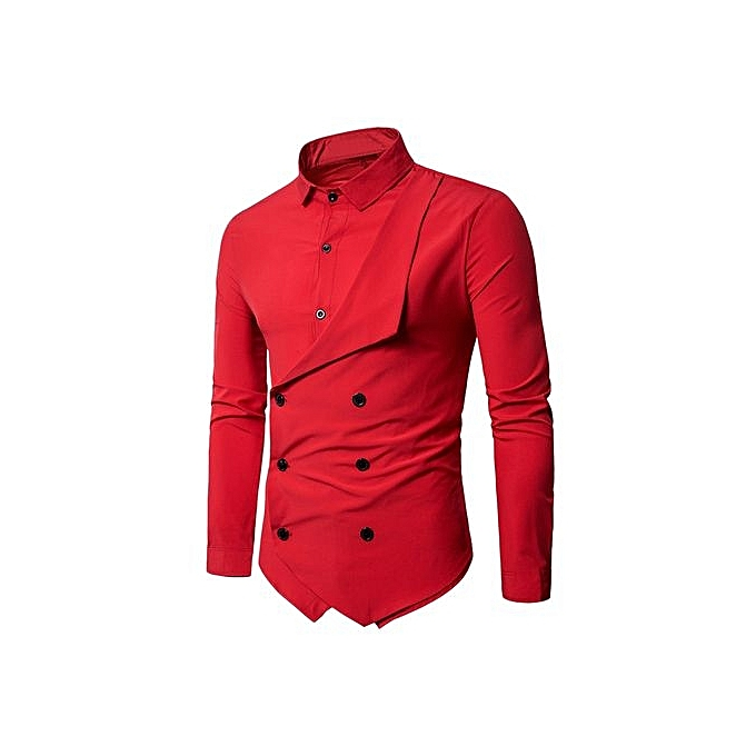 Generic Double Breasted Long Sleeve Layerouge Shirt_rouge à prix pas cher