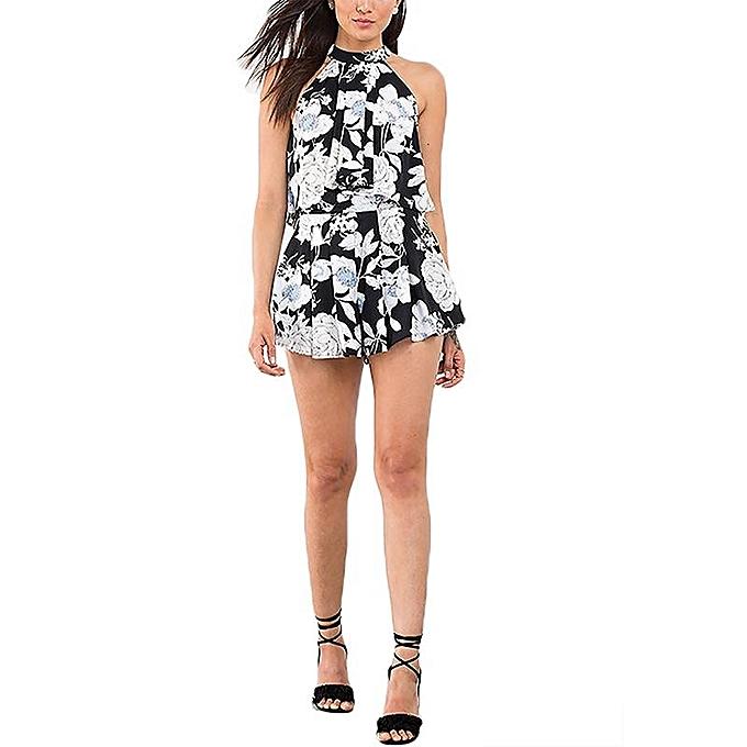 Fashion YOINS femmes New High Fashion Casual Floral Print Halter Sleeveless Crew Neck Dress Top à prix pas cher