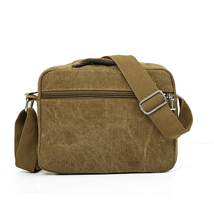 Siketu Men Canvas Bag Casual Travel Men's Crossbody Bag  Men Messenger Bags KH-Khaki à prix pas cher