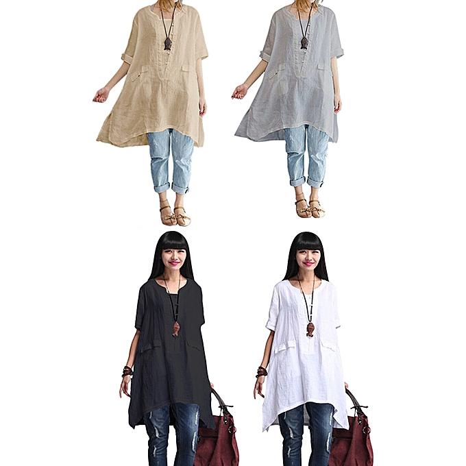 GENERAL femmes Summer Short Sleeve Irregular Cotton Tops T-shirt Blouse Plus Taille à prix pas cher