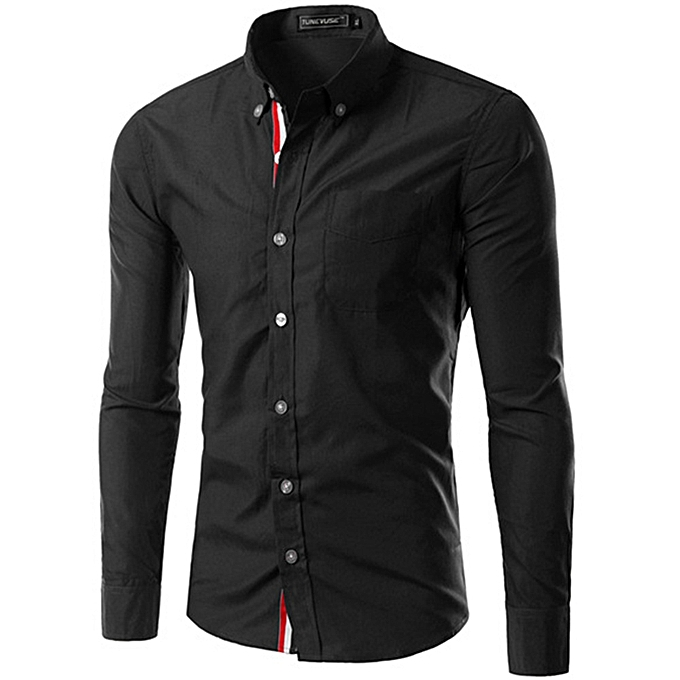 Other Hommes& 039;s manche longue Ribbon Shirt Affaires Slim Shirt -noir à prix pas cher