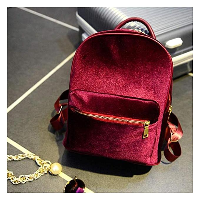 OEM femmes or Velvet Small Rucksack Backpack School Book Shoulder Bag RD à prix pas cher