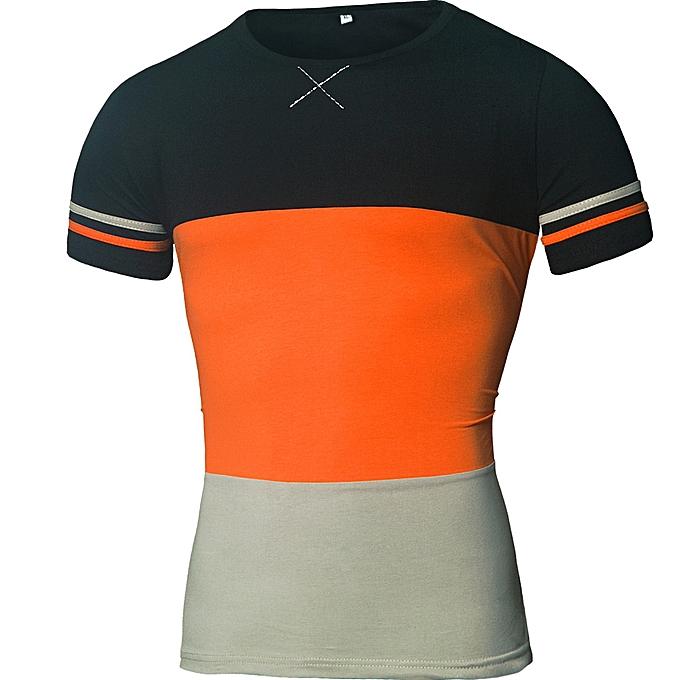 mode Pour des hommes Plus Taille Splicing Shirt manche courte T-Shirt chemisier hauts -Orange à prix pas cher