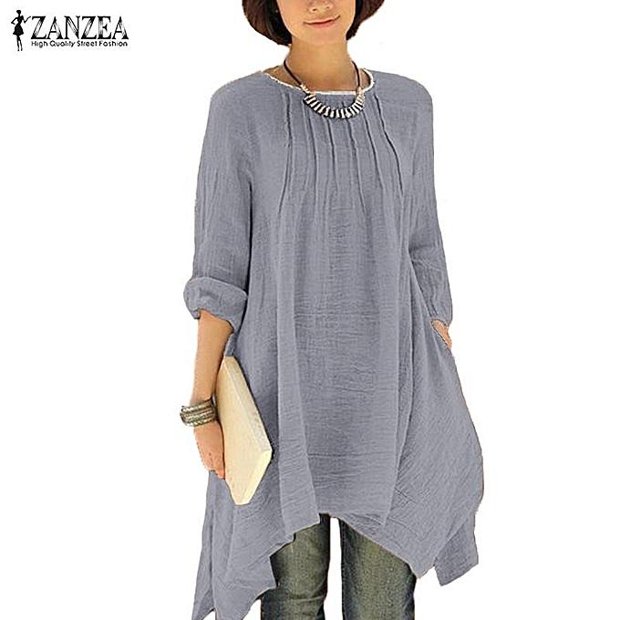 mode ZANZEA femmes Vintage Solid O-Neck Pleated manche longue Buttons Irregular Hem Décontracté Loose OverTailled Long Shirt chemisier hauts (gris) à prix pas cher