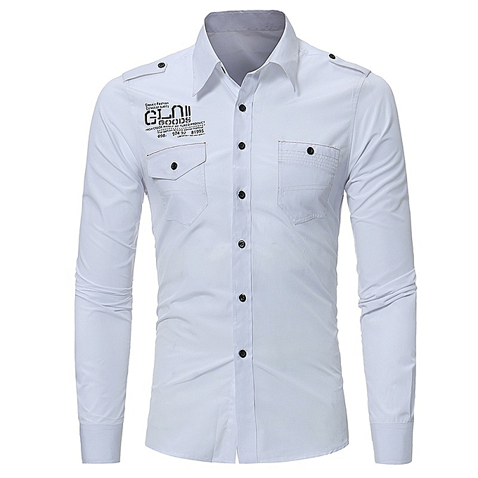 Other New Stylish Men's Letter Printed Long Sleeve Shirts à prix pas cher