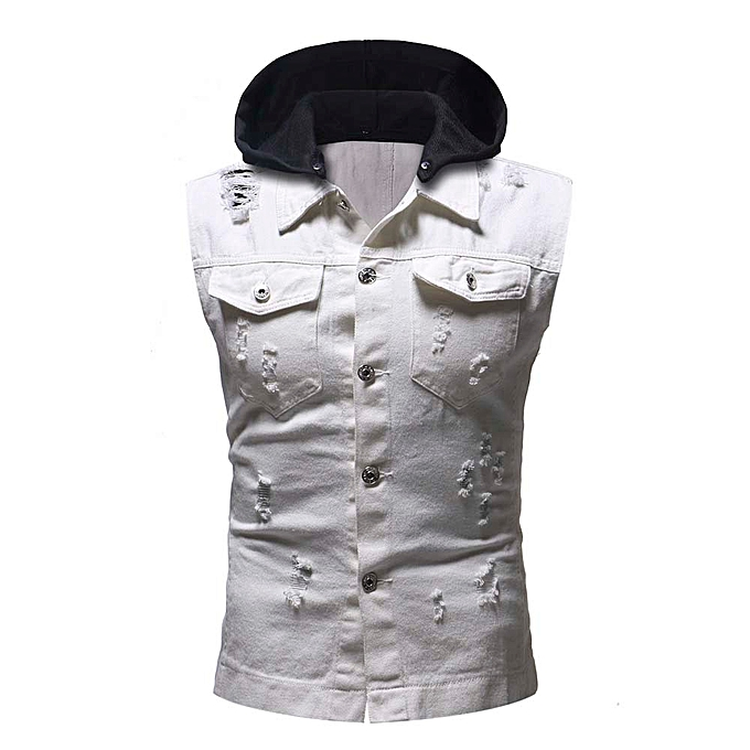 mode Hommes& 039;s Autumn Winter Destroyed Vintage Denim sweat à capuche veste Waistcoat chemisier Vest -blanc à prix pas cher