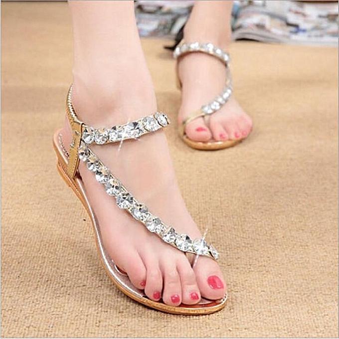 Fashion NEW Bohemia femmes Rhinestone Flat Sandals Beach Flip Flops Slippers Thong chaussures or à prix pas cher    Jumia Maroc