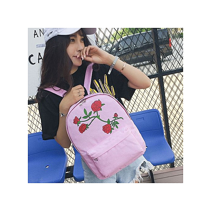 mode Singedanfemmes Girls toile Rose FFaibleers Preppy Style School sac voyage sac à dos sac PK -rose à prix pas cher