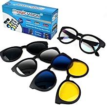 de9718782 نظارة شمسية ماجيك فيجن باطار بني 5 في 1 (نظارة شمسية متعددة الالوان)