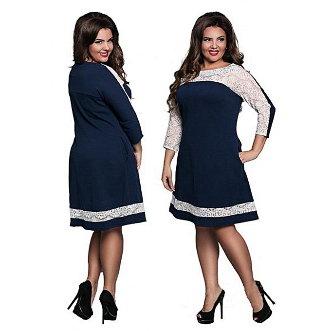 Fashion Plus Taille Office Pencil Midi Dress Short Sleeve femmes Print Bodycon Sheath Ladies Dress-bleu à prix pas cher