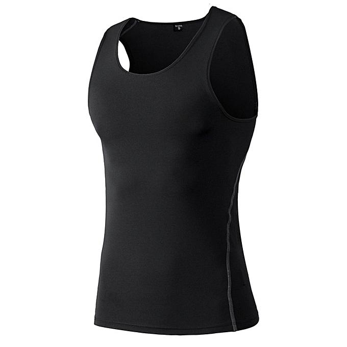 Other New Stylish Men's Basketball Fitness Sleeveless Shirts Tight Training Sports Vest -noir à prix pas cher