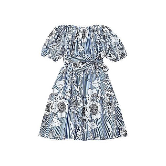 Generic HL Off Shoulder Floral Striped Dress With Belt (bleu Stripe) (S ) à prix pas cher