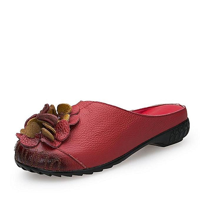 Fashion SOCOFY SOCOFY Fashion Round Toe Genuine Leather Flower Slip On Leather Soft Flat Sandals WoHommes  Shoes à prix pas cher    Jumia Maroc f5fe5c