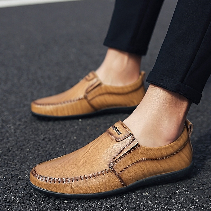 Other New Stylish Men Genuine Leather Loafers chaussures British Driving chaussures  -Light marron à prix pas cher    Jumia Maroc