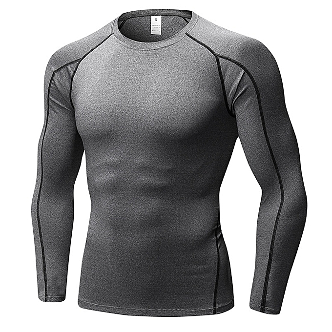 Other Stylish Men's Stretch Long Sleeve Shirt Tight Fitness Training T Shirt -gris à prix pas cher