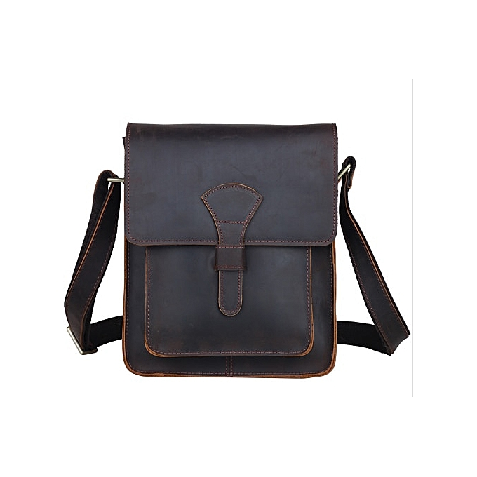 Fashion Men   leather cross body messenger bag dark marron vintage style bag for iPad crazy horse leather small bag 1112 à prix pas cher