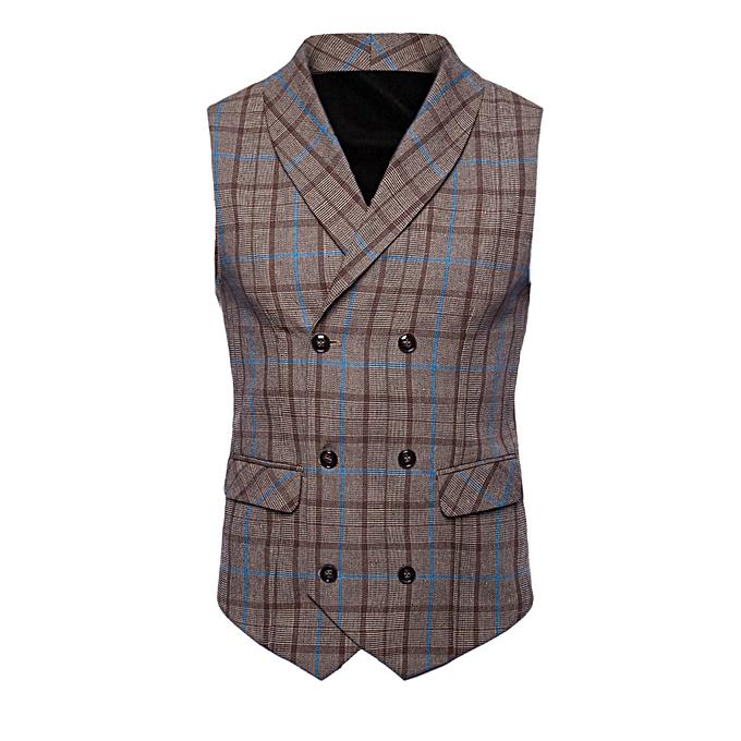 Fashion Men Plaid Button Casual Printed Sleeveless Jacket Coat British Suit Vest Blouse -bleu à prix pas cher