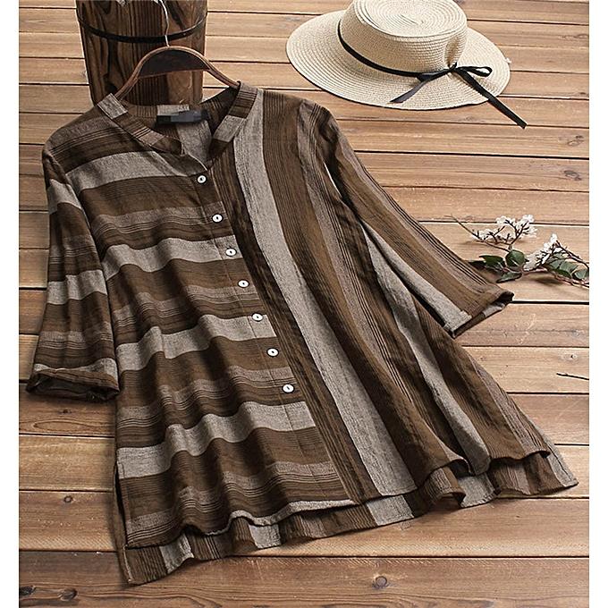 mode femmes Ladies mode Loose grand Taille rayé Button Retro Shirt voituredigan à prix pas cher