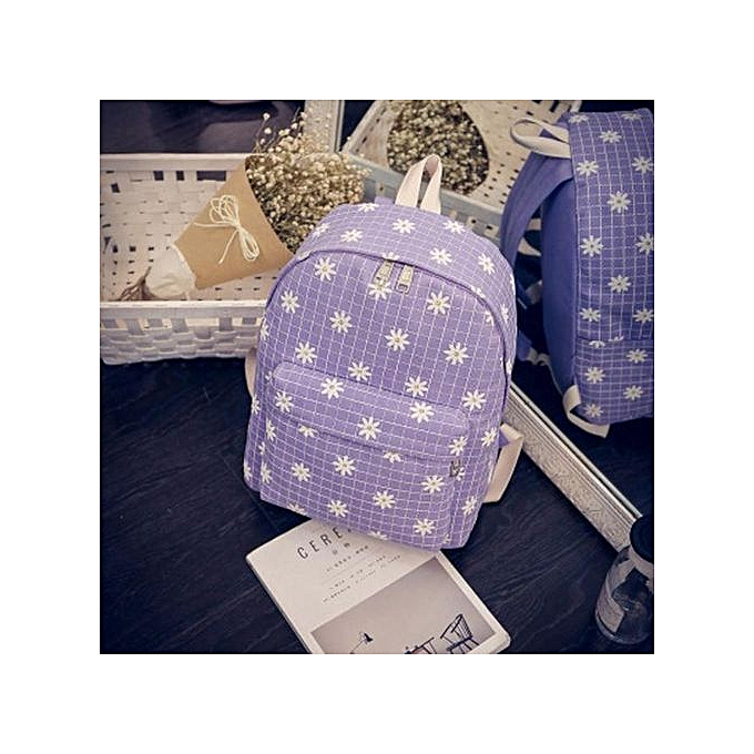 Fashion Correponde femmes Causal Floral Chrysanthemums Canvas Grid Bag Backpack à prix pas cher