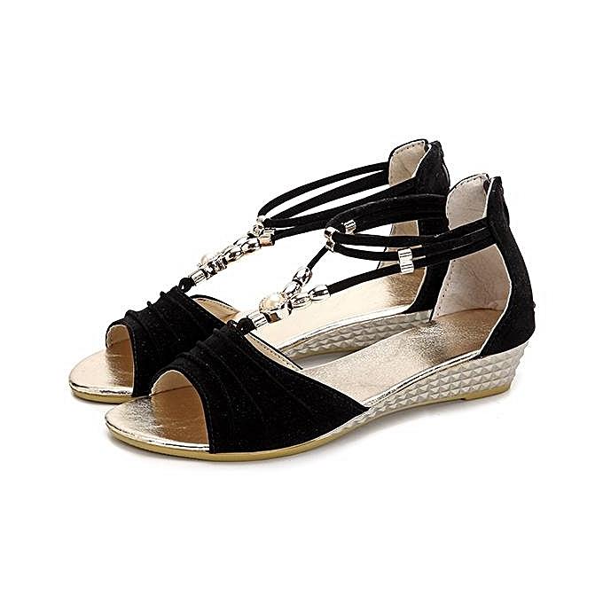 Fashion New femmes Fashion Beaded Flat Sandals T Strap Summer Beach chaussures Open Toe Wedges-EU à prix pas cher