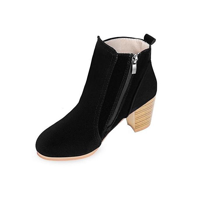 Fashion Stylish Side Zipper Scrub Scrub Zipper Martin Boots Pure Color WoHommes  High Heel Shoes à prix pas cher    Jumia Maroc c505a2