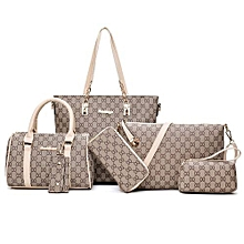 b6d2d2a6462a2 UJ 6PCS SET Korean Fashion Women Composite Bag Female Ladies Shoulder-white