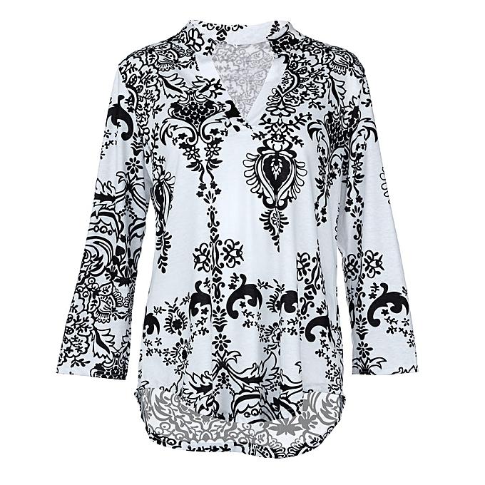 Generic Generic femmes mode V-Neck chemisier Décontracté Retro Print Loose Shirt Standing collar hauts A1 à prix pas cher