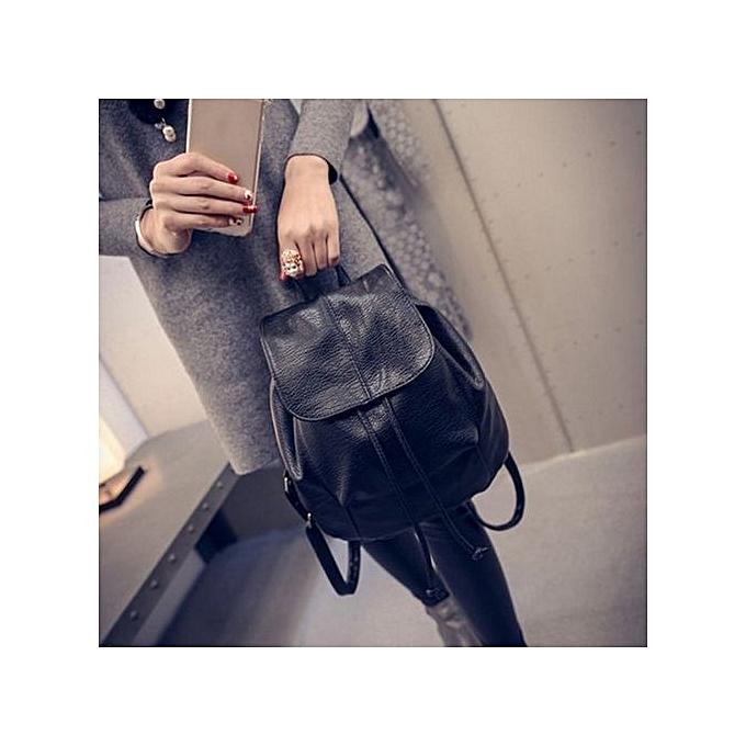 Generic cuir School sac voyage Cute sac à dos Satchel Shoulder sac à dos noir à prix pas cher