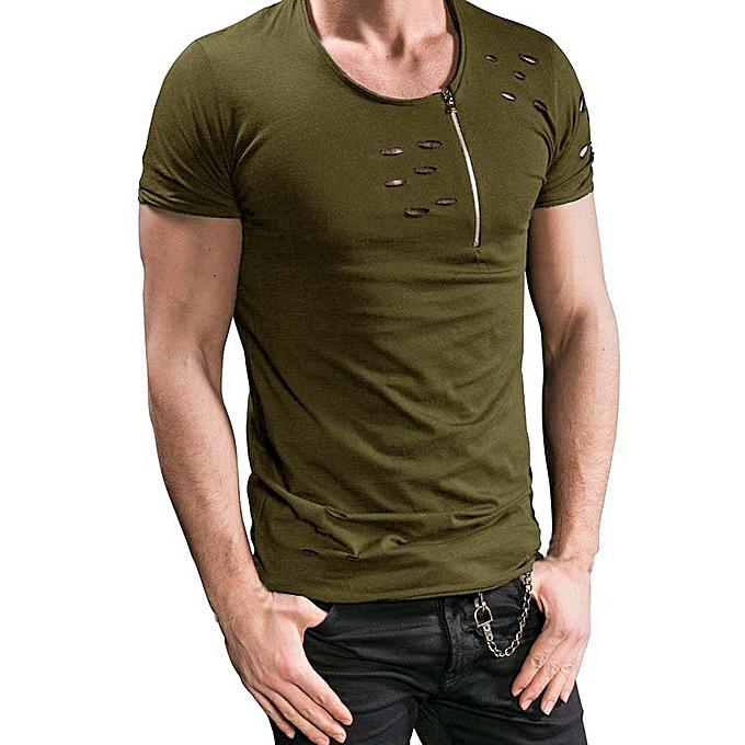 Fashion Men Summer Zipper Holes Slim Tees Short Sleeve Fitness Tshirt AG L à prix pas cher