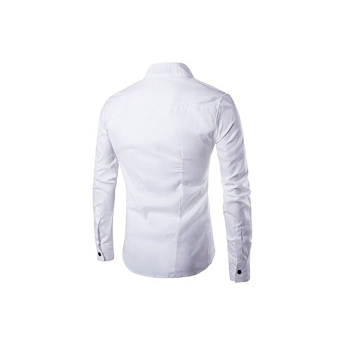 Neworldline Mens Casual Irregular Silm Fit Long Sleeve Shirt Blouse Tops T-shirt WH L-blanc L à prix pas cher