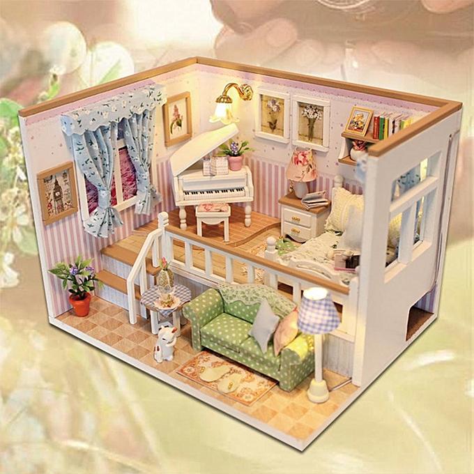 Autre Réunion amour 3D en bois artisanat maison de poupée meubles bricolage miniature cache-poussière Dollhouse jouet à prix pas cher
