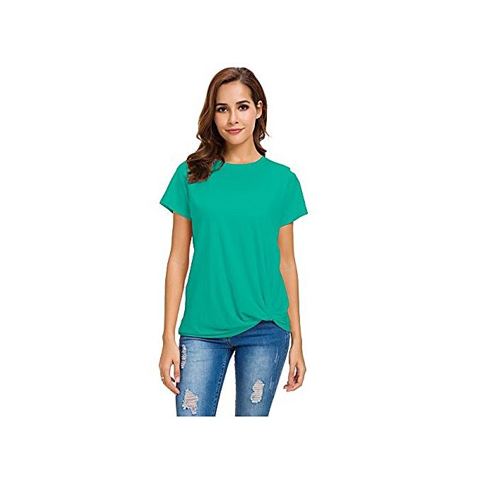 Tauntte femmes& 039;s Décontracté Round Neck manche courte cravate Up T-Shirt chemisier Cotton Basic hauts (vert) à prix pas cher
