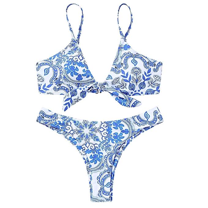 Generic HL Porcelain Print Knotted Bikini Set (bleu,And,blanc) (L, M) à prix pas cher