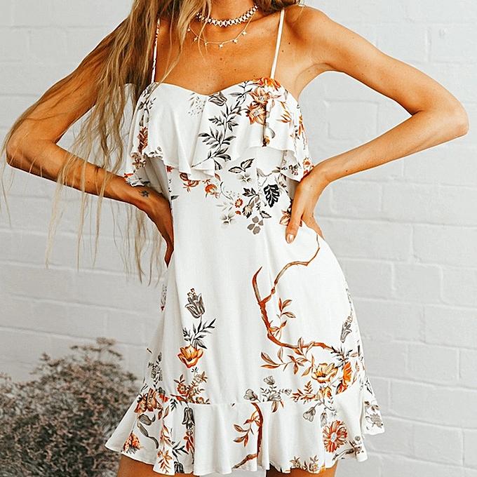 mode femmes& 039;s été mode FFaibleer Frui Print Split Robe Vacation Style Robe à prix pas cher
