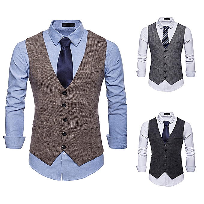 mode Hommes& 039;s Autumn Winter Formal Bussiness Tuxedo Suit Waistcoat Vest veste Top Coat à prix pas cher