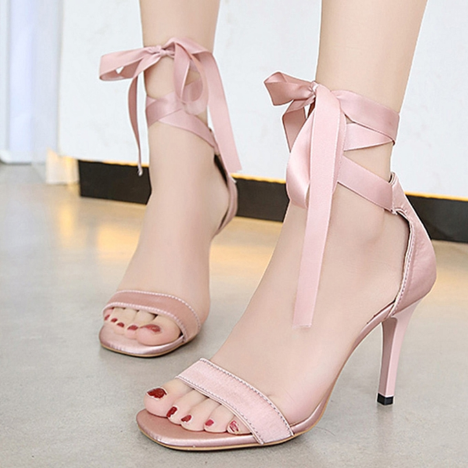 Fashion (Xiuxingzi) Wohommes Open Toe Sandals Fashion Cross-Strap High Heeled chaussures Lace-Up Stiletto à prix pas cher