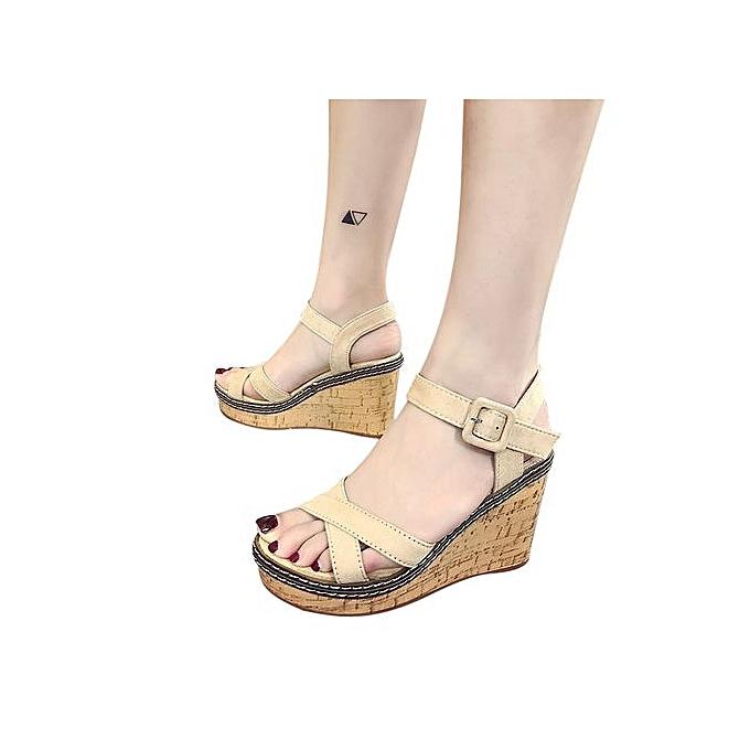 Fashion Jiahsyc Store femmes Fish Mouth Platform talons hauts Wedge Sandals Buckle Slope Sandals-blanc à prix pas cher    Jumia Maroc